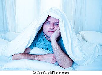 sömn, lidande, ögon, säng, oordning, man, sömnlöshet, öppnat