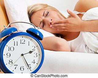 sömnlöst, night., klocka