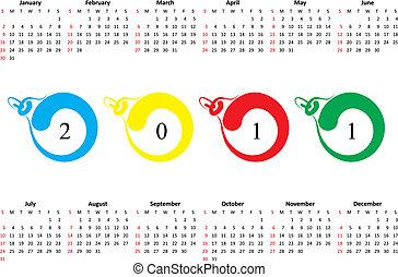 söndag, 2011., kalender, första