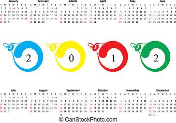 söndag, 2012., kalender, första