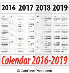 söndag, 2019, 2018, kalender, 2016, startande, 2017