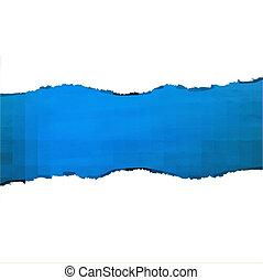 sönderrivet, blå, papper, struktur
