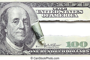 sönderrivet, dollar, sedel