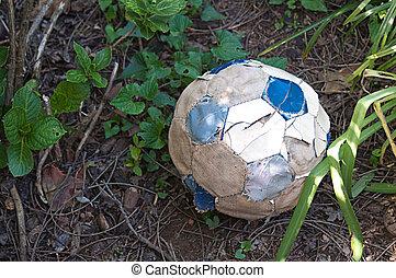 sönderrivet, fotboll, gammal, boll