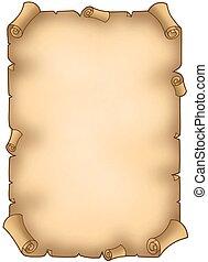 sönderrivet, gammal, pergament