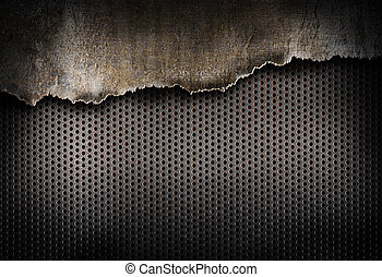 sönderrivet, metall, bakgrund