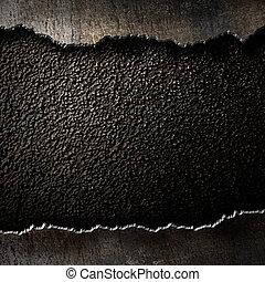 sönderrivet, metall, bakgrund, bryn