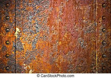 sönderrivet, rostig metall, struktur, med, nitar, över, röd...