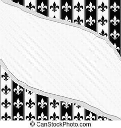 sönderrivet, tyg, klassisk, mönster, Av,  fleur,  copy-space, svart, bakgrund, Läsidor, vit, Strukturerad, centrera
