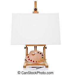 söpör, vászon, festőállvány, paletta, fénykép, művész, elszigetelt, festék, plusz, háttér., tiszta, fehér