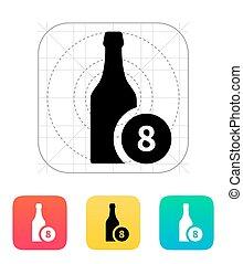 sörösüveg, noha, szám, icon.