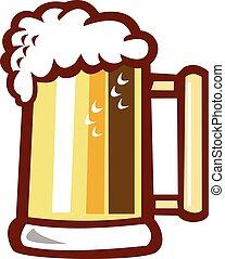 sör, elszigetelt, egy korsó sör, retro