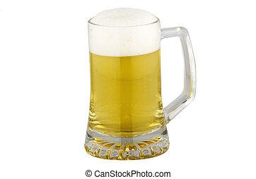 sör, fehér, elszigetelt, bögre