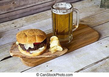 sör, hajó, hamburger
