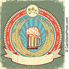 sör, jelkép, közül, label.vintage, háttér, noha, felcsavar, helyett, szöveg, képben látható, öreg, dolgozat