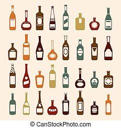 sör palack, és, bor, ikon, állhatatos