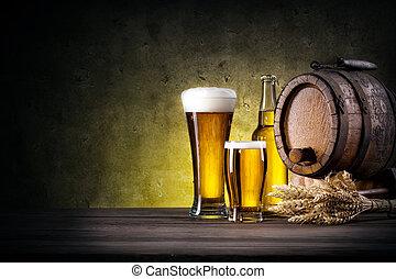 sör puskacső, palack, szemüveg