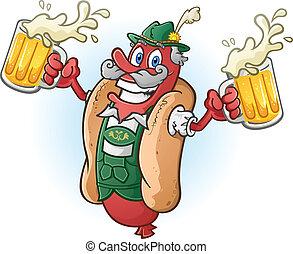 sör, sült kolbász, karikatúra, hot dog