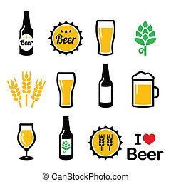 sör, színes, vektor, ikonok, állhatatos