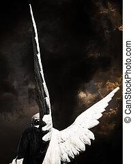 sötét ég, angyal