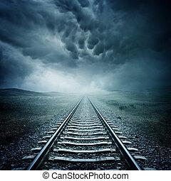 sötét, útvonal, vasút