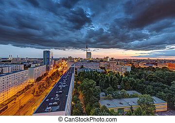 sötét, belvárosi, felett, elhomályosul, berlin