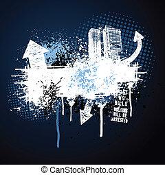 sötét blue, keret, grunge, város