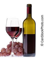sötét, bor, két, piros, szemüveg