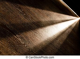 sötét, csillogó rays, ajtó, szoba