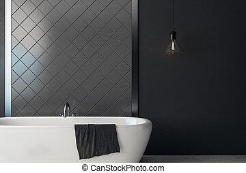 sötét, fürdőszoba, copyspace