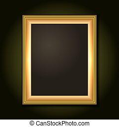 sötét, film, vászon, keret, arany