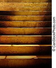 sötét, grunge, lépcsősor, koszos