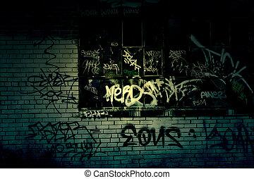 sötét, grungy, falfirkálás, háttér, fasor