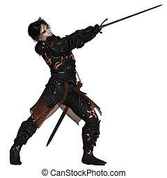 sötét, harcos, noha, kard, -, 1