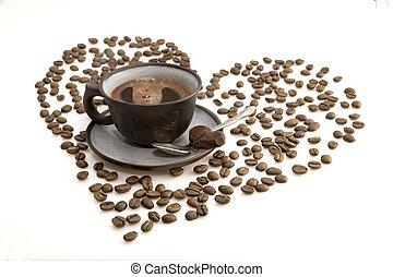 sötét, kávéscsésze, reggel