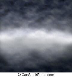 sötét, ködös