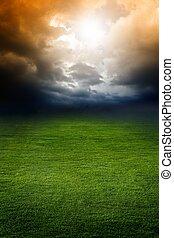 sötét, mező, zöld ég