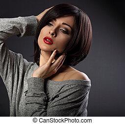 sötét, nő, ajakrúzs, neki, rövid, alkat, arc, haj, háttér., megható, closeup, szexi, portré, bubifrizura, árnyék, piros, mód
