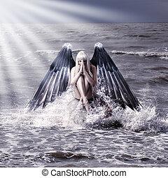 sötét, nő, kasfogó, angyal