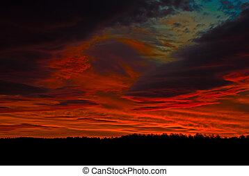 sötét, piros, napkelte