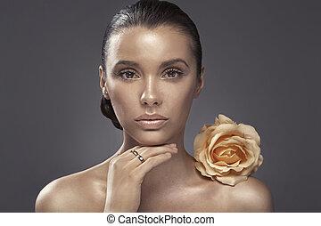 sötét, portré, nő, arcszín