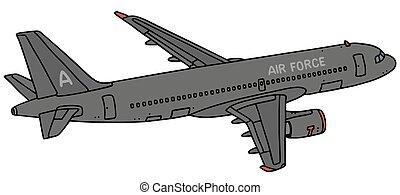 sötét, sugárhajtású repülőgép