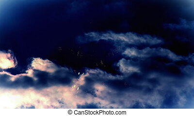 sötét, tűzijáték, cloudy ég