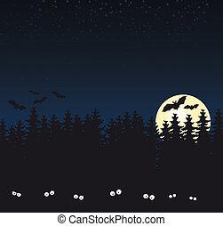 sötét, tele, erdő, hold