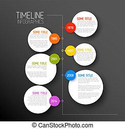 sötét, timeline, jelent, infographic, sablon