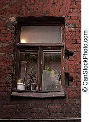 sötét, udvar, ablak