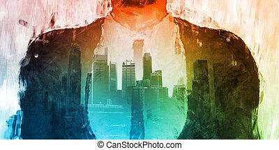 sötét, város, egyesített, lejtő