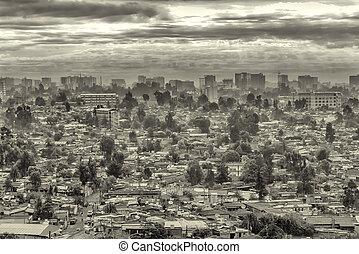 sötét, város, felett, addis, elhomályosul