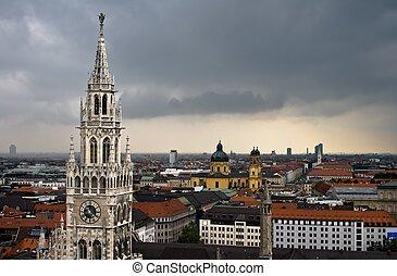 sötét, város, felett, elhomályosul, münchen