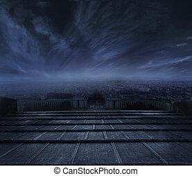 sötét, városi, felett, elhomályosul, háttér